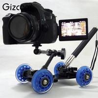3 ב 1 שולחן העבודה גמיש צילום Gizcam מתגלגלת רכבת מסלול סקטים Slider לוח דולי מצלמה DSLR מצלמת וידאו לרכב זרוע קסם Rig