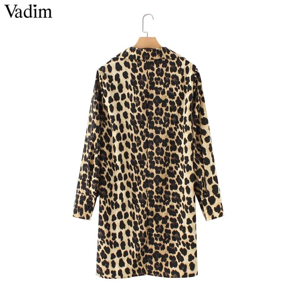 80ca5f9b68b19 Vadim women Leopard V neck dress animal skin pattern chic long ...