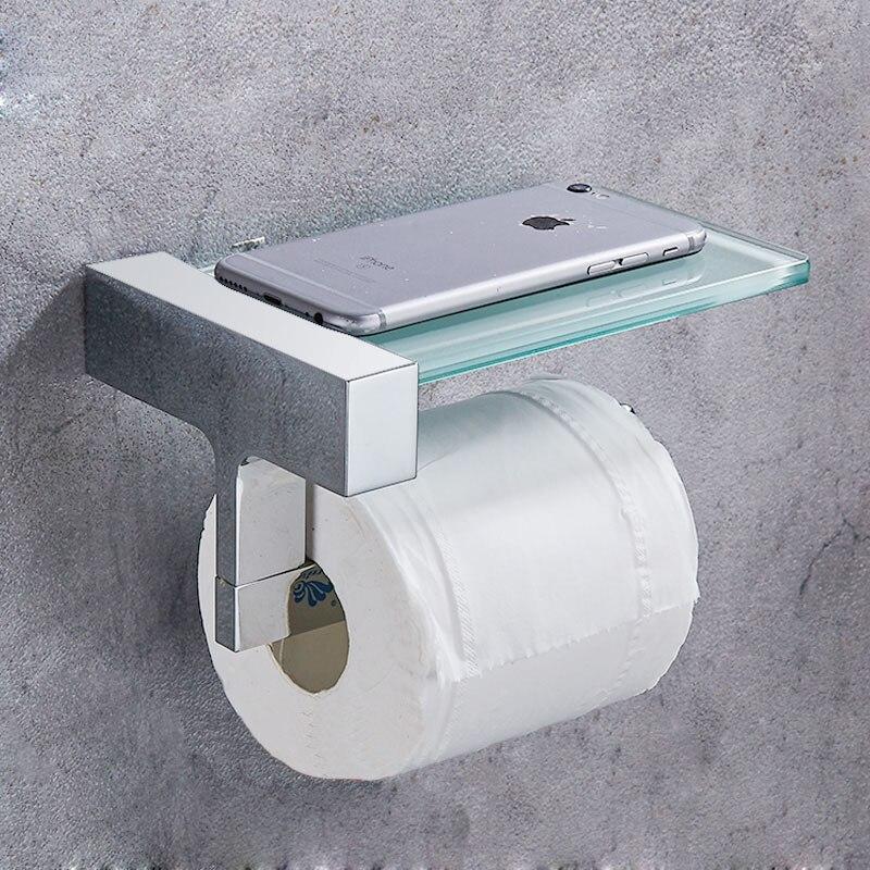 Toilet Paper Holder Brass Bathroom Accessories Tissue Holder Towel Rack Toilet Roll Dispenser With Phone Storage