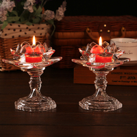 Home Decor Tealight Lotus Candleholder Crystal Candle Holder Fengshui Wedding Decoration Crystal Candle Stand Glass Candle Stick