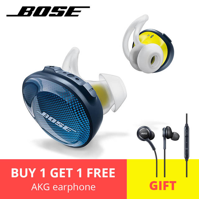 BOSE SoundSport Free Wireless Bluetooth Sport Music Earphone Sweat Water  Noise Resistant Headset With Mic Free Gift AKG Earphone