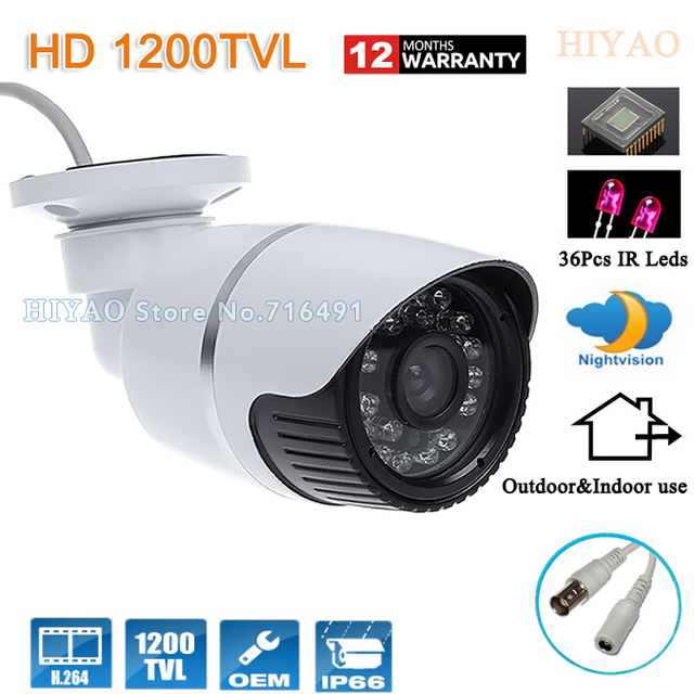HD Video Surveillance Waterproof Bullet CCTV Camera 1200tvl CMOS ...