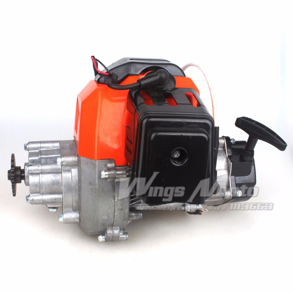 US $95 83 |43cc 2 stroke Motor Gas Scooter Engine with Gear Box 20T T8F  Sprocket Electric Start Version DIY Engine-in Engines from Automobiles &