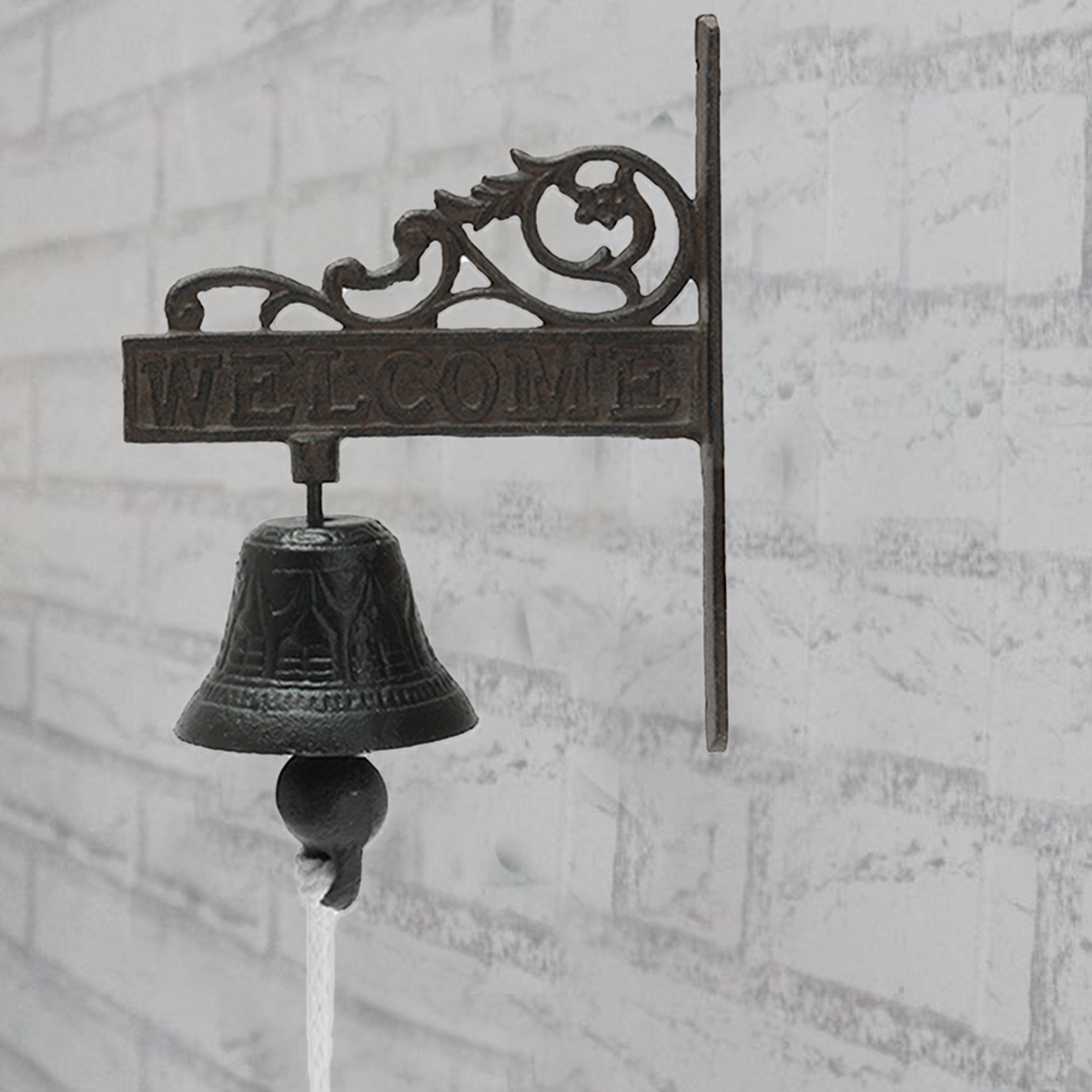 Nordic Style Vintage Brown Metal Iron Door Bell Wall Mounted Welcome Cast Wireless DoorBell Porch Garden Decoration new vintage style rusted dog cast iron door bell wall mounted garden decoration access control