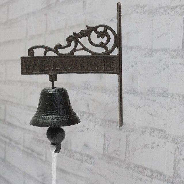 Nordic Style Vintage Brown Metal Iron Door Bell Wall Mounted Welcome Cast Wireless Doorbell Porch Garden