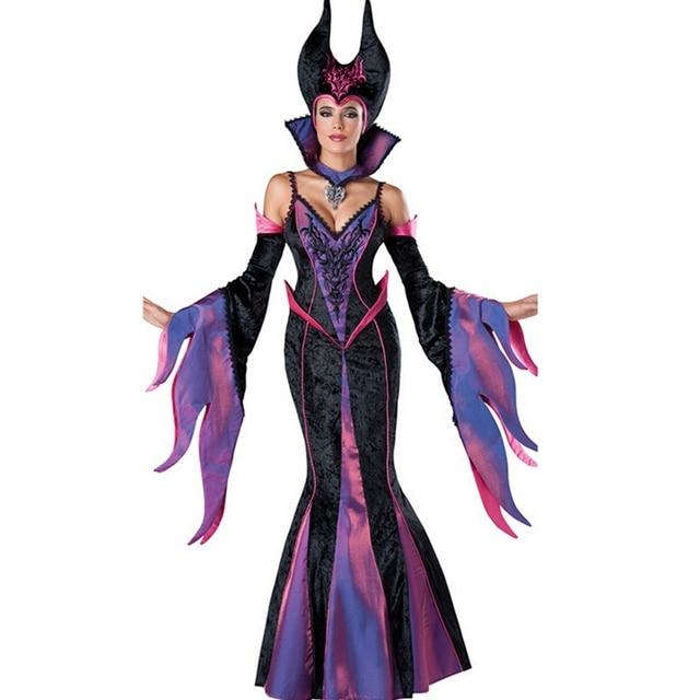 Vestiti Halloween Strega.Us 30 52 28 Di Sconto Sexy Femminile Strega Vestito Halloween Costume Cosplay Alla Moda Travestimento Di Carnevale Costumi Del Partito Viola Witch