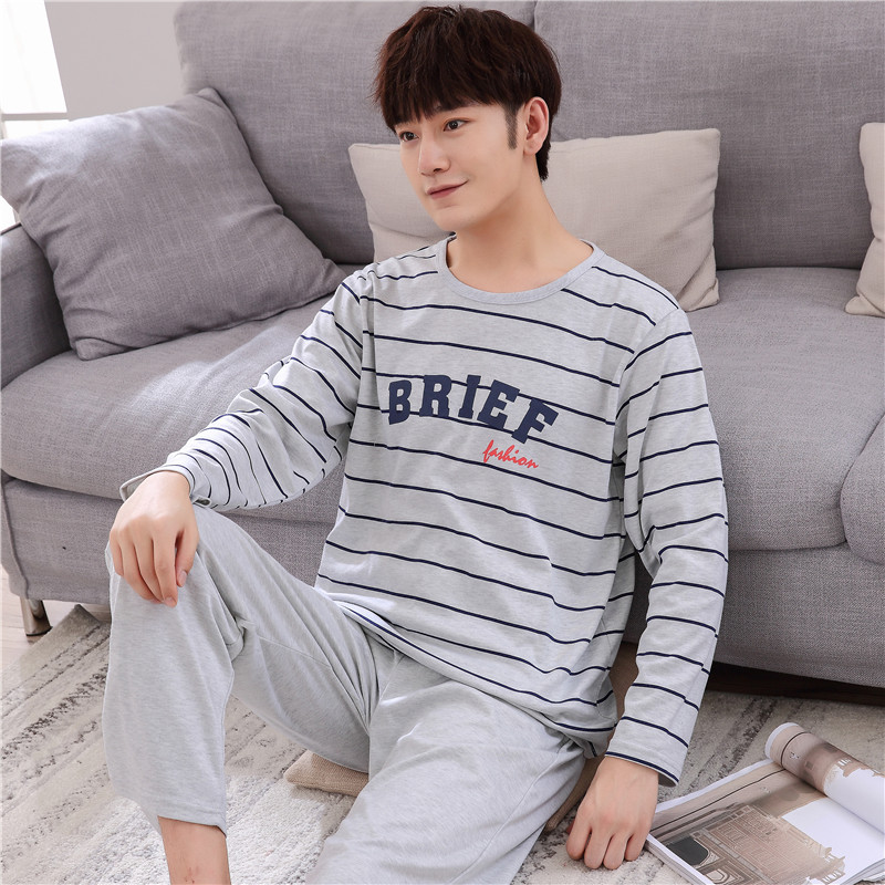XXXL 4XL Spring And Autumn New Pajamas Long Sleeves Cotton Round Neck Men 's Clothing Suits