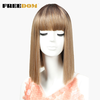 FREEDOM Womens Synthetic Hair Wigs 12 Inch Blonde Wig Short Straight Hair Wig Heat Resistant New Color Free Shipping