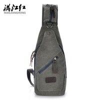 Man Jiang Hong Canvas Chest Bag Leisure Bag Man Canvas Bags Male Small Retro Shoulder Bag