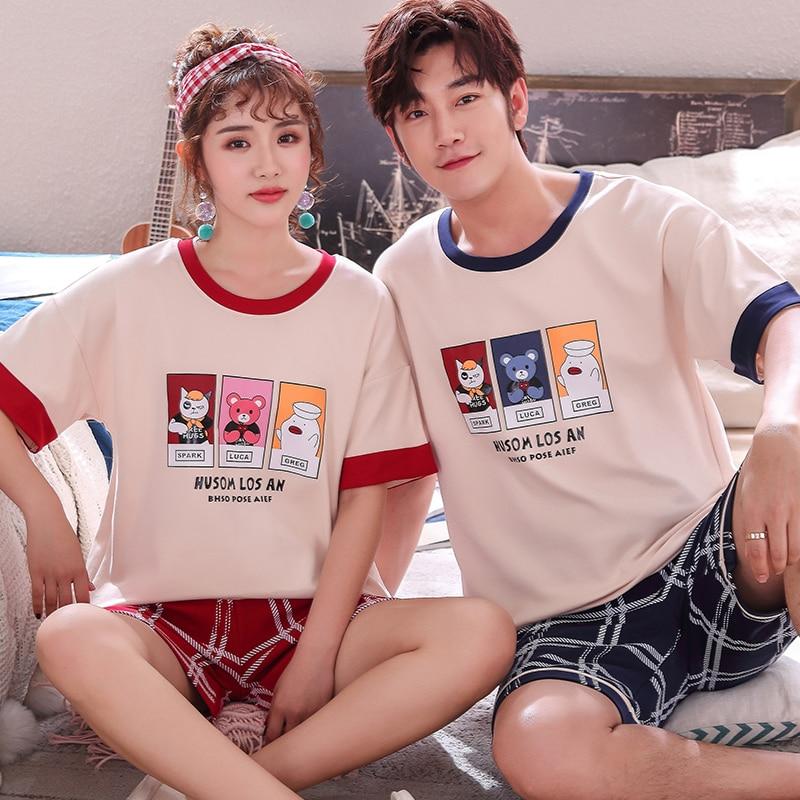 Summer New Pyjamas Cotton Cartoon Women's Pajama Sets Couple Sleepwear Mujer Pyjamas Nightwear Men's Pajamas 3XL Home Clothing