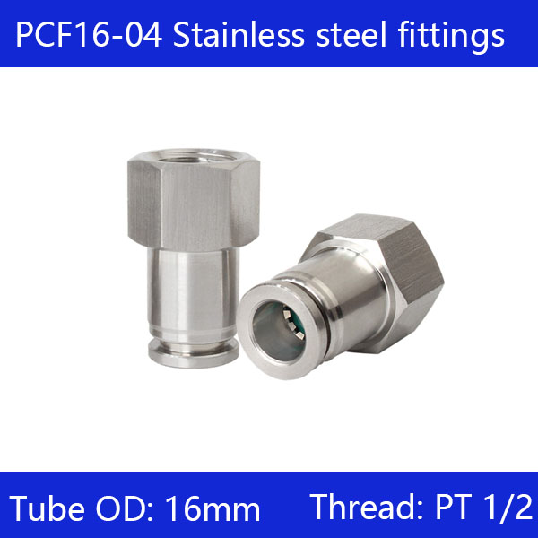 Free shipping 10pcs/lot 16mm to 1/2 PCF16-04,304 Stainless Steel Straight Female ConnectorFree shipping 10pcs/lot 16mm to 1/2 PCF16-04,304 Stainless Steel Straight Female Connector