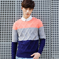 2017 Autumn Winter Men Sweaters and Pullovers O-Neck Long Sleeve Casual Patchwork Sweater Knitted Cotton Male Sweater  XN037