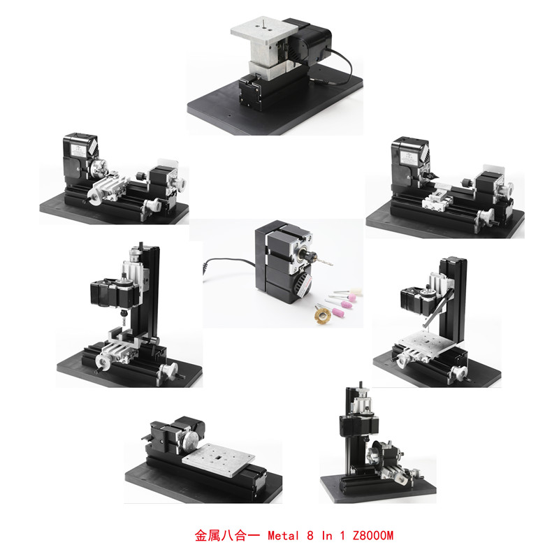 24W Metal 8 in 1 Mini lathe machine Z8000M DIY hand-held drilling and milling machine for school teaching adjustable double bearing live revolving centre diy for mini lathe machine