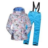 2018 для девочек лыжный костюм зимняя ветронепроницаемая теплая одежда для девочек комплект куртка + комбинезоны брюки детская одежда спорти