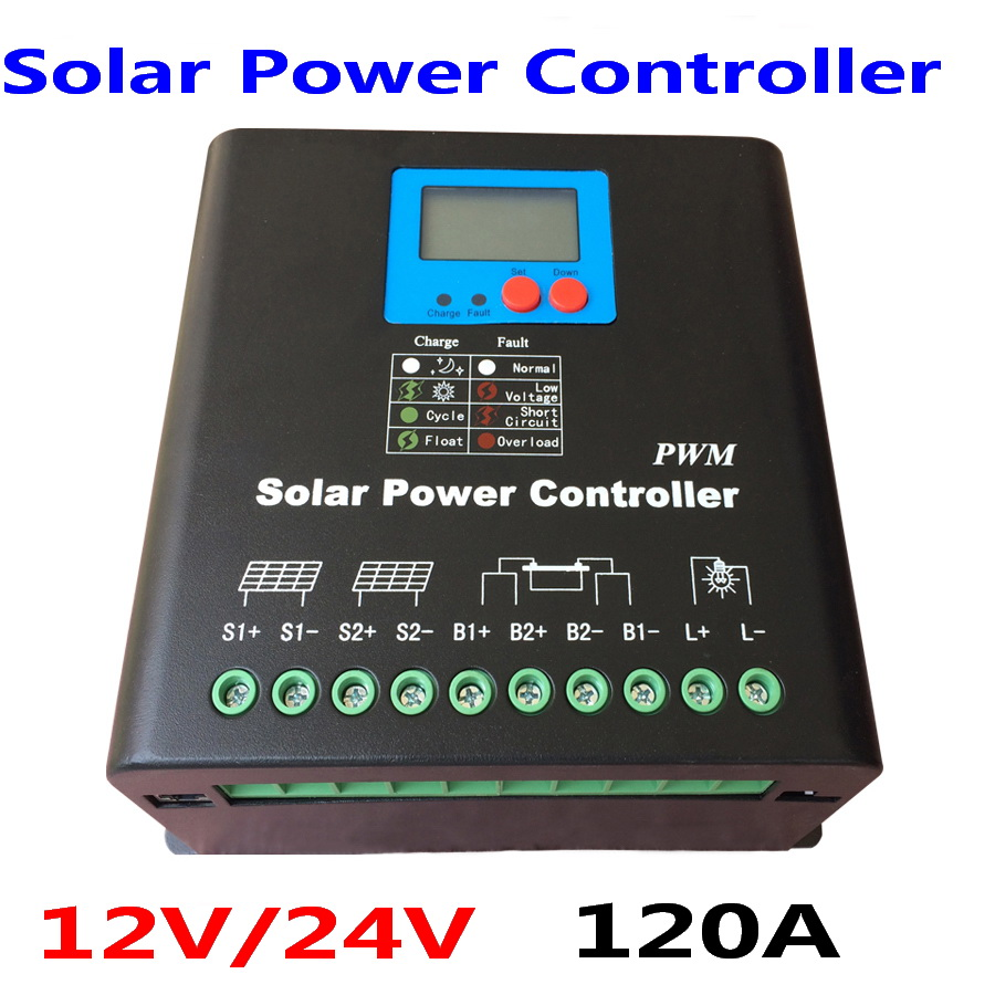 120A 150A 180A 12V/24V Auto Solar Panel Battery Charge Controller PWM LCD Display Solar Collector maylar 30a pwm solar panel charge controller 12v 24v auto battery regulator with lcd display