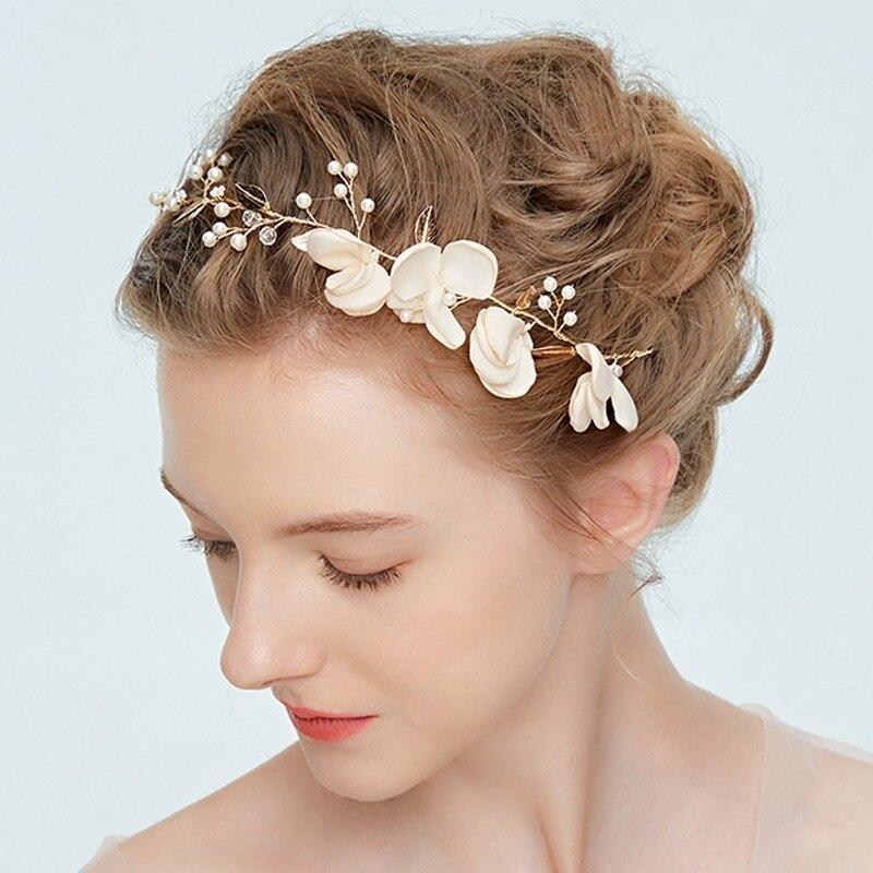 Wedding Bride Floral Headband Gold Leaf Flower Tiara Headdress Ornament Hairband