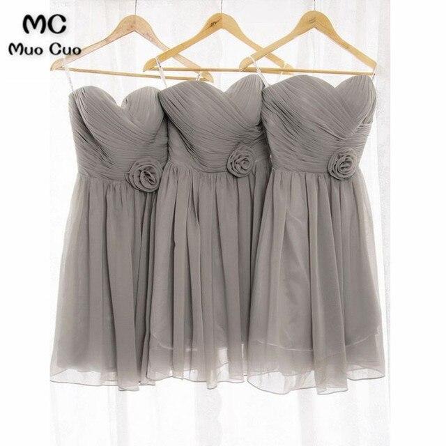 66330f7f014 2018 Grey Bridesmaid Dresses Short Flowers Belt Pleat Sweetheart Formal  Wedding Party Dress Chiffon Women Bridesmaid