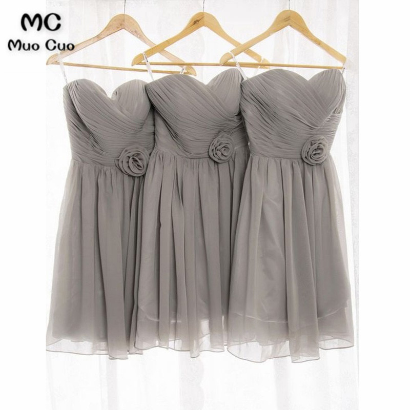 2018 Grey   Bridesmaid     Dresses   Short Flowers Belt Pleat Sweetheart Formal Wedding Party   Dress   Chiffon Women   Bridesmaid     Dress