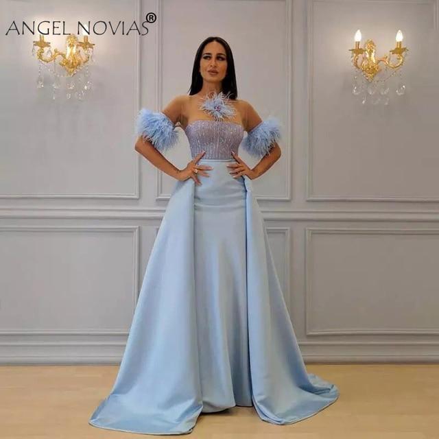 fbb640cf4c US $220.0 |ANGEL NOVIAS Long Satin Light Blue Saudi Arabic Evening Dresses  2018 with Detachable Skirt Avondjurken 2018 Custom Made-in Evening Dresses  ...