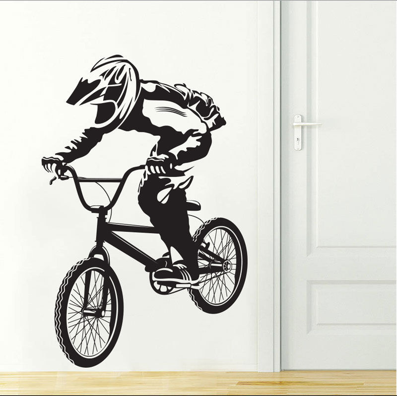 Hot Wall Stickers For Kids Rooms Decor Bicycle BMX Wall Decals Quotes Bedroom Sticker Removable Sticky Vinyl Art Mural LA037