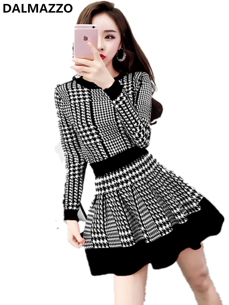 2019 Women's Autumn Winter Fashion Suits Clothing Houndstooth Knitted Sweaters Tops + Skirt 2 Pieces Sets Sweatsuit Femme