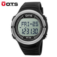 OTS Digital Watch Men Sports Watches Women Pulse Heart Rate Step Calories Pulsometer Pedometer Waterproof Military