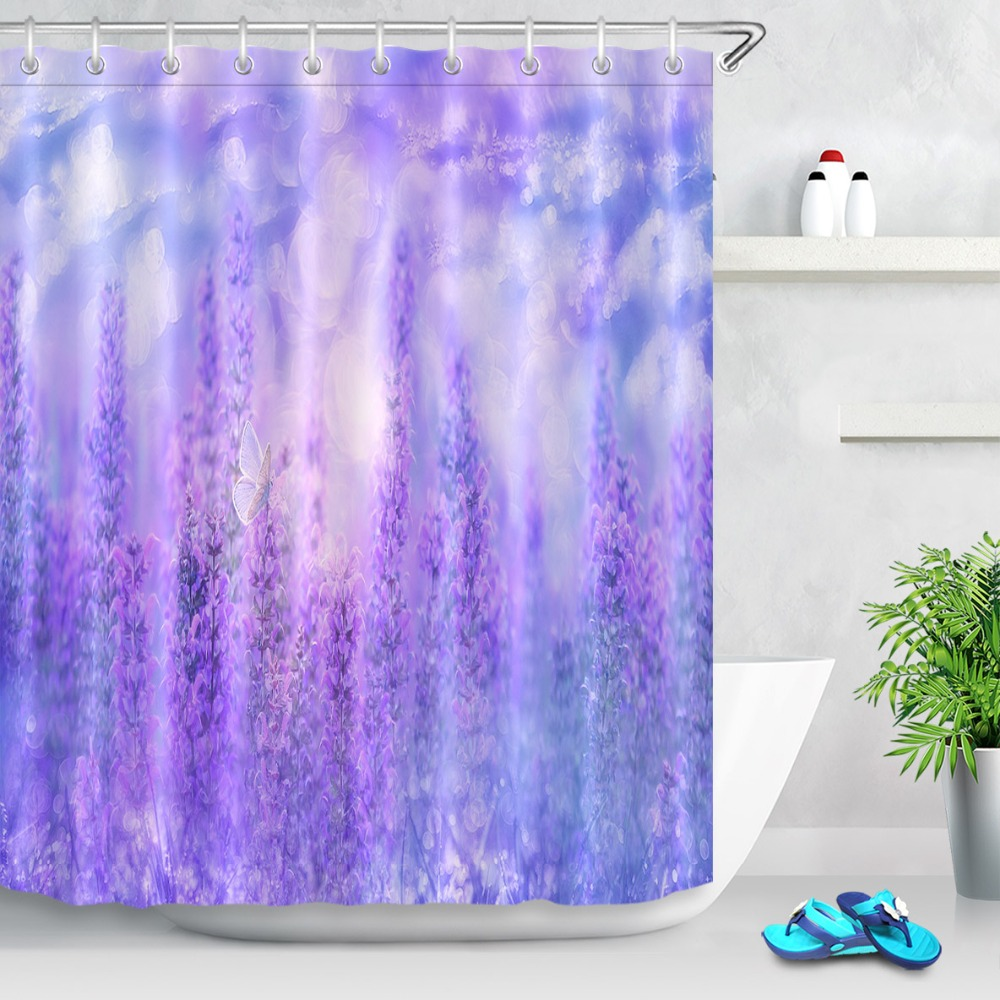 Lavender Shower Curtains Us 8 48 35 Off Lb Washable Purple Custom Shower Curtains Lavender Floral Waterproof Polyester Bathroom Curtain Fabric For Bathtub Decor 180 180 In