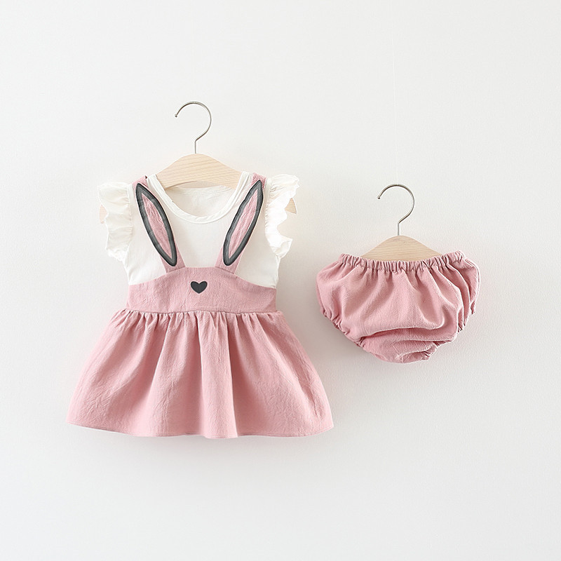 Cute Baby Girl Clothes Infant Casual 2Pcs Summer Cartoon Design Dress With Briefs PP Pants Suit Sets
