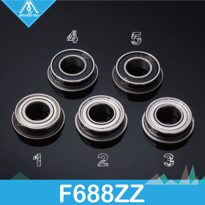 free-shipping-10pcs-lot-f688-2z-f688zz-f688-zz-f628-8zz-flanged-flange-deep-groove-ball-bearings-8-x-16-x-5mm-for-3d-printer