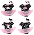Black White Polka Dots Bodysuit Macacão Romper Pettiskirt Rosa Claro Do Vestido Do Bebê Headband NB-18M MAJS0064