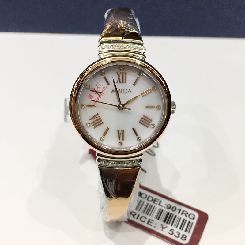 AMICA 2019 verre saphir plein acier de luxe de haute qualité verre saphir miroir dames montre Quartz montre femmes montres