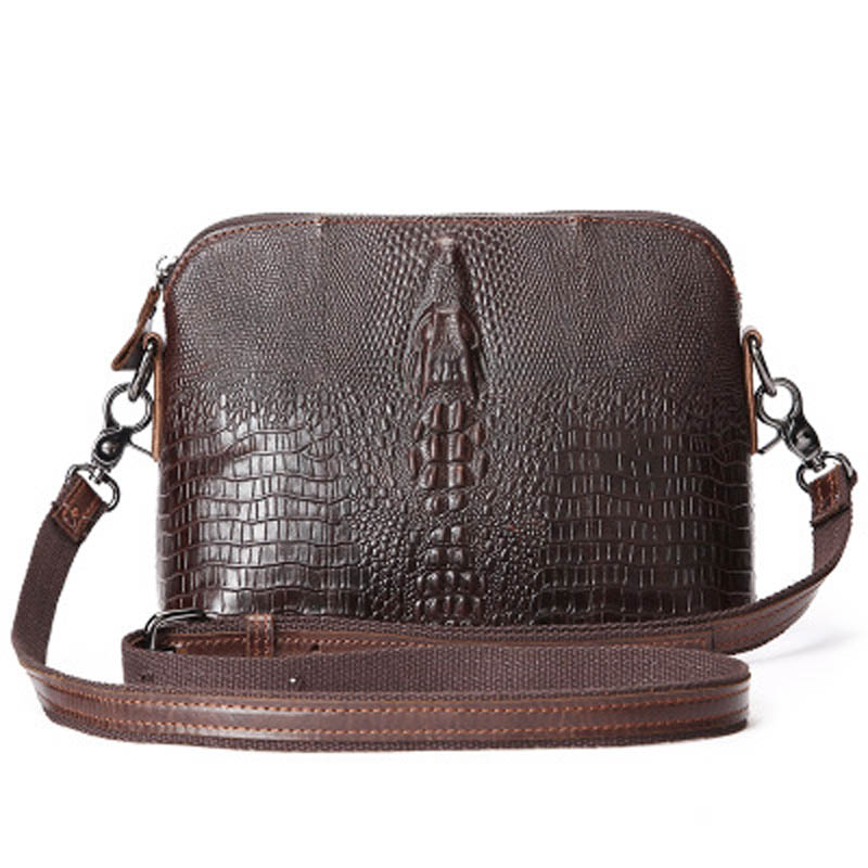 цена на Ladies' Genuine Leather Handbag Women Alligator Shell Vintage Bags Crocodile Female Messenger Shoulder Small Bag Oil Wax Cowhide