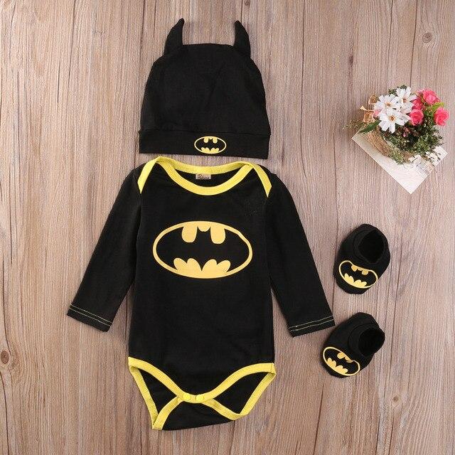 Pudcoco 2017 bebé ropa de Los Muchachos Fijan Batman Fresco Recién Nacido de Los Bebés Del Mameluco + Zapatos + Hat 3 unids Trajes fijado Ropa