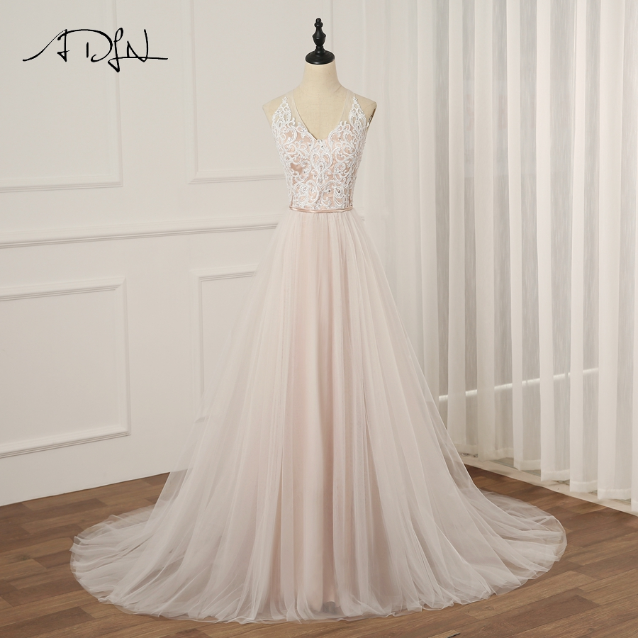 ADLN Sexy Halter Sleeveless Wedding Dress Vestido De Novia A line Tulle Wedding Gowns Robe De