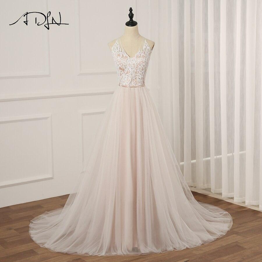 ADLN  Sexy Halter Sleeveless Wedding Dress Vestido De Novia A-line Tulle Wedding Gowns Robe De Mariage Zip Buttons