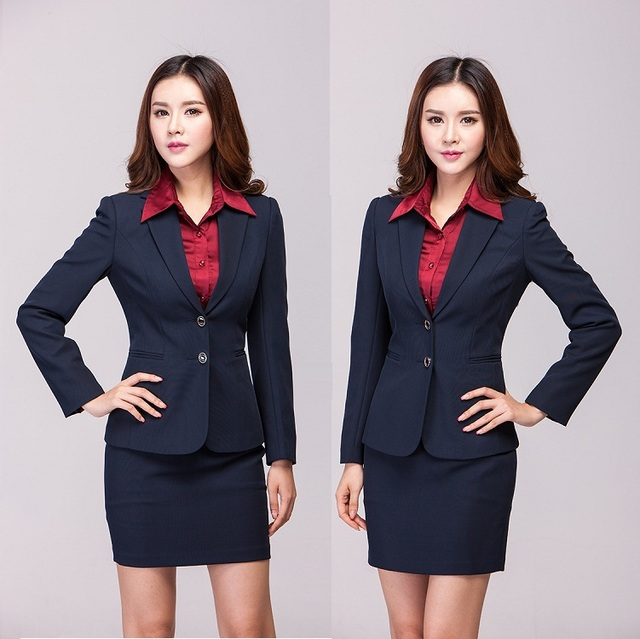 2015 new women suits with skirts plus size office uniform for Office uniform design 2015