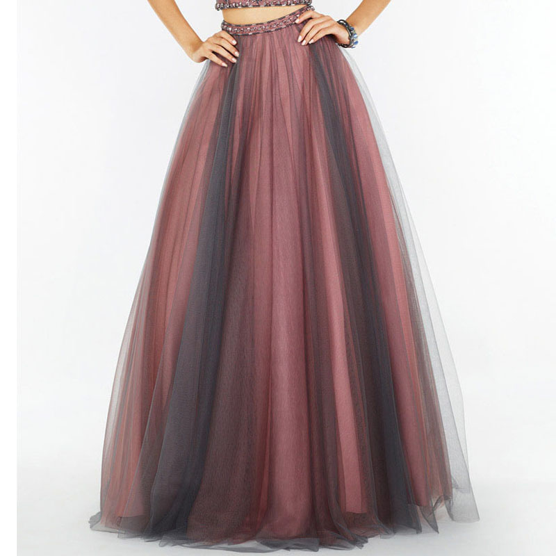 Hippie Style Long Tulle Skirt Pink And Gray Mixed Color Fashion Maxi Skirt For Women To Formal Party Gothic Faldas Saia Jupe