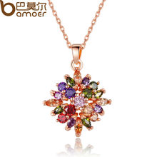 BAMOER Fashion Real Gold Plated Rhombus Necklaces Pendants with Colorized AAA Cubic Zircon For Women Birthday Gift JIN025