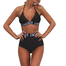 Women Bikini Bandage Halter High Waist Swimwear Black Zingiber Letters Print