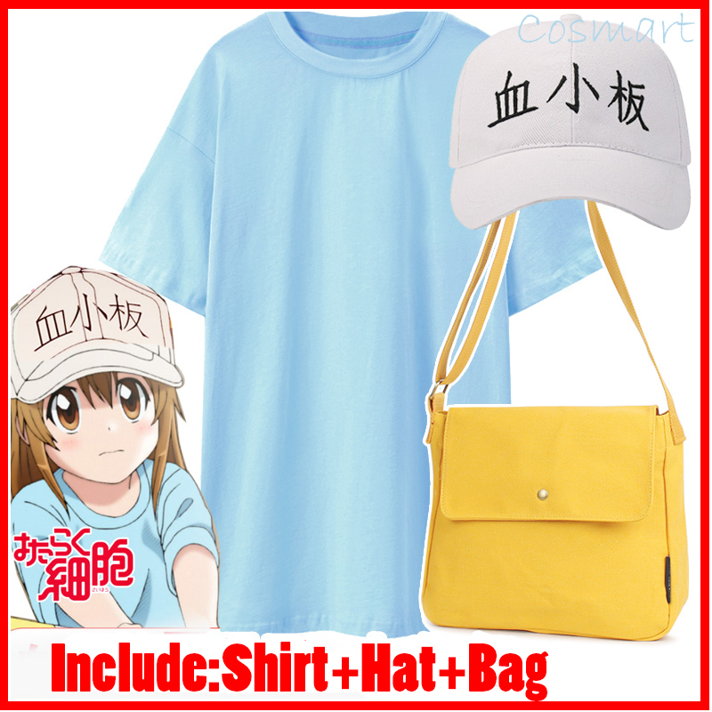 [STOCK]Shirt+Hat+bag Amine Cells At Work Blood Platelet Cosplay Costume For Halloween Carnival full set 2018 Free Shipping