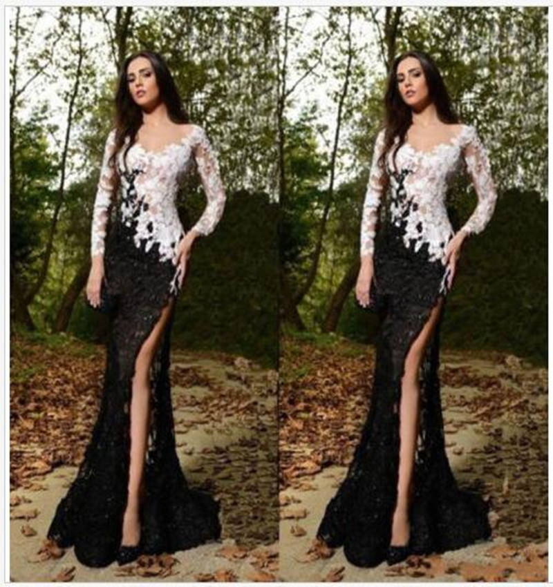 Long Sleeve Black//White Lace Prom Wedding Evening Dress Party Pageant Ball Gowns