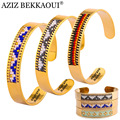 AZIZ BEKKAOUI 10MM Wide Bracelets For Women Fashion Cuff Bangles Colorful Seed Beads Stainless Steel Bangle Engrave Name