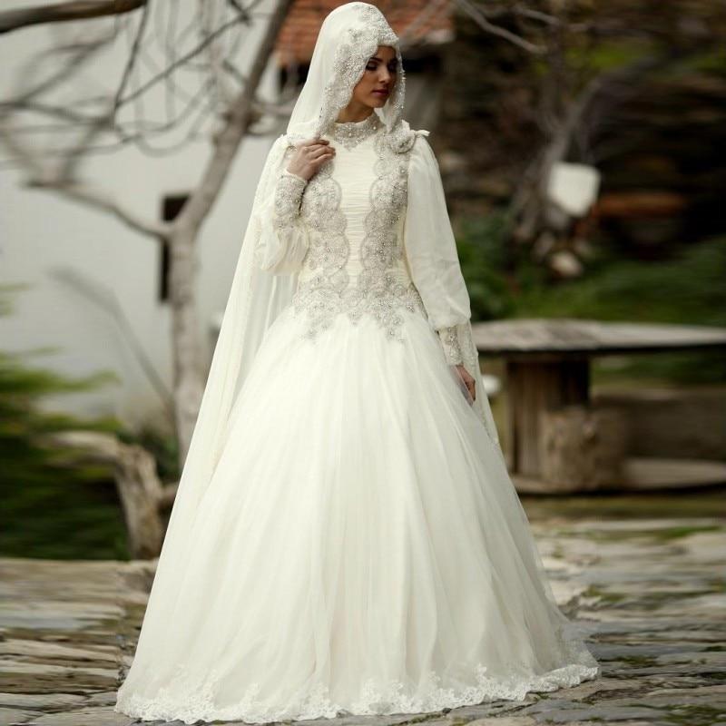 Muslim Wedding Dress Hijab High Neck Long Sleeve Lace Applique Crystal Beading 2019 Arab Bride Bridal