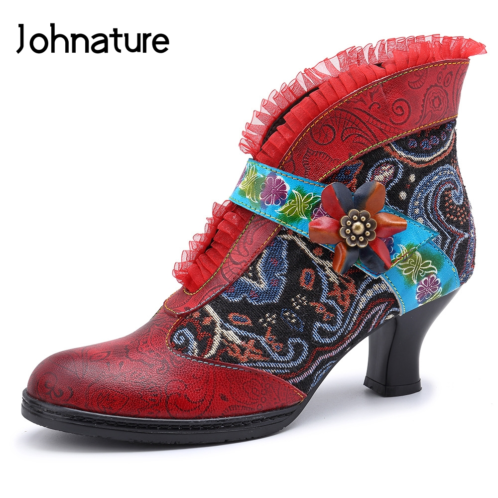 Johnature 2019 New Spring Autumn Genuine Leather Square Toe Hoof Heels Hand painted Flower Zipper Ankle