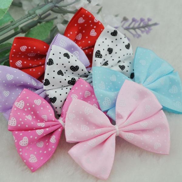 10 pcs Mix lace satin ribbon flower bows party crafts wedding appliques B48