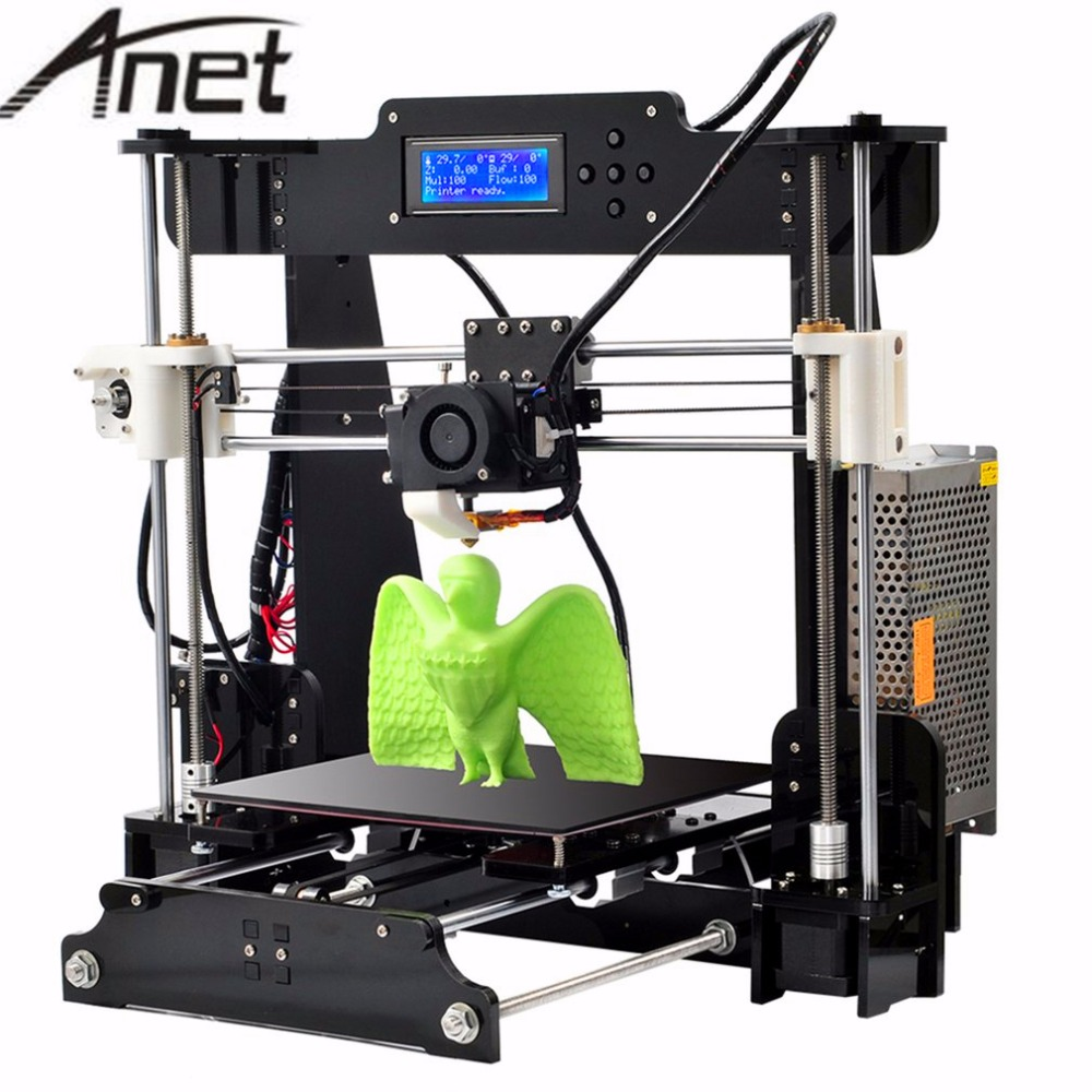 Anet A8 Upgrade Auto leveling Prusa i3 3D Printer kit DIY 3d printer with Aluminum Hotbed Free 10m Filament 8GB SD Card LCD new arrivals pale pink shiny leather kawaii rabbit ankle strap sweet lolita shoes 5 5cm heel pumps