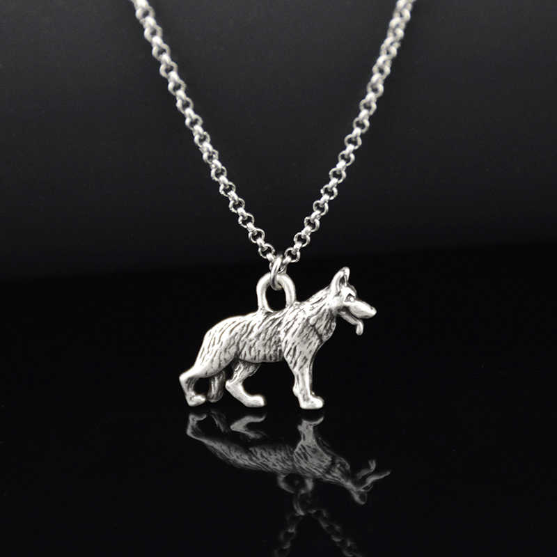 Retro Style 3D Vintage Silver Color German Shepherd & Belgian Malinois & Cattle Dog Charm Pendant Necklace Lon Chain