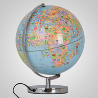 30CM LED Geography Earth Nation Star World Mountain Landscape Map Globe Light Metal Base Home Office