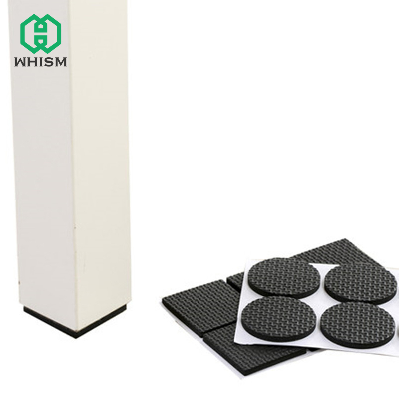 WHISM Furniture Chair Protectors For 20-90MM Black Self Adhesive Floor Table Covers Square Round Non-slip Mat Feet Leg Pads Caps