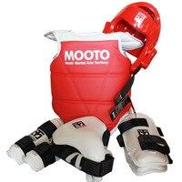 Mooto защитный mooto шлем 5 шт. Тхэквондо и каратэ головные уборы Armguard портянку груди WTF Стандарт тренажерный зал спортивная одежда + сумка